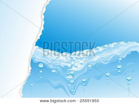 Water design with the broken off paper. (vector illustration)