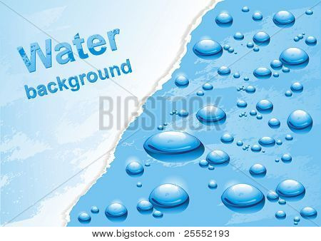Water background with drops. Vector illustration.
