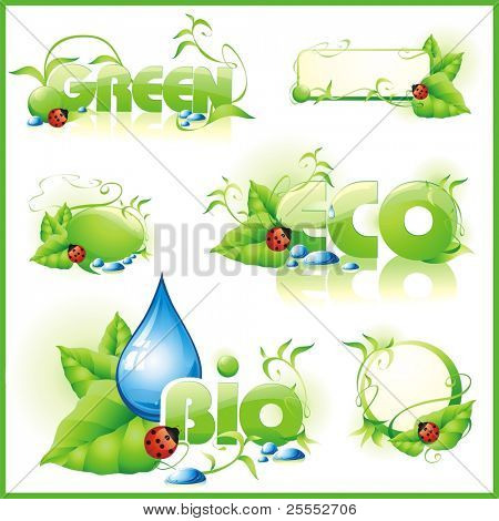 Collection of green eco-icons. Vector illustration.