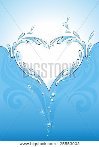Water splash in the form of heart. (vector illustration)