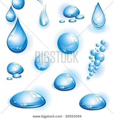 The raster version set of water drops.