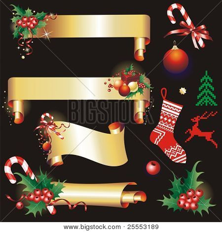 Christmas banners  and design elements. (vector illustration)