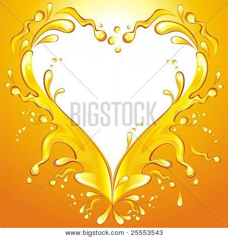 Heart. Orange juice frame. Vector illustration.