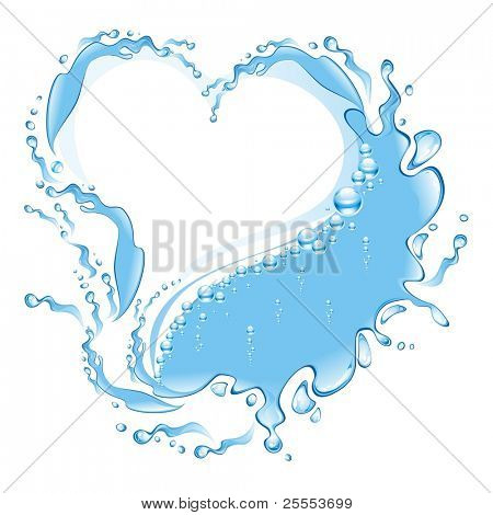 The raster version water frame in the form of heart.