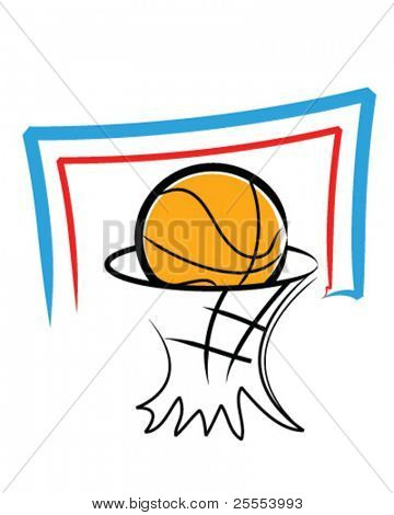 Illustration of a basketball and a backboard