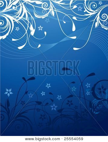 A blue natural background with various ornaments