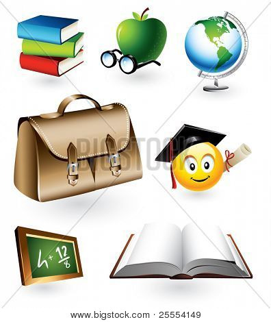 Vector set of seven detailed education objects