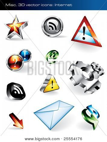 Set of 11 shiny vector icons for websites. Please visit my portfolio to find similar graphics.