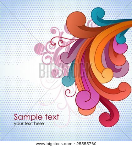Background with colorful scrolls and copyspace.
