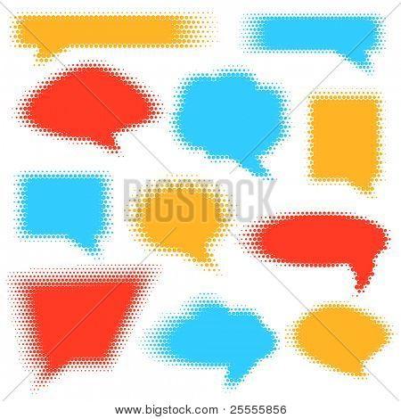 Halftone patterned speech bubbles set - raster version
