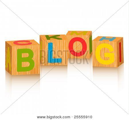 "Alphabet bricks making up ""blog"" word"