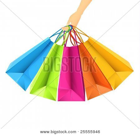 Hand holding shopping bags - vector illustration