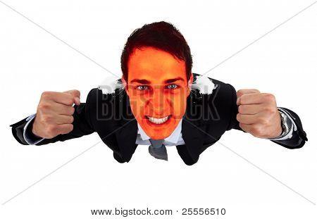 Homem de negócios irritado com vermelho explodindo o rosto, isolado