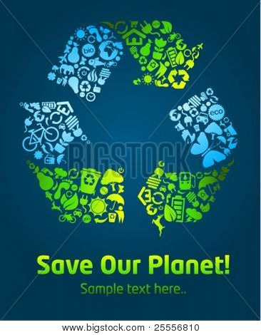 Save our planet eco icon poster template