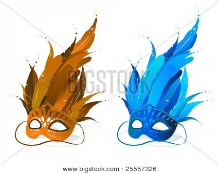 Brown and blue feather party masks