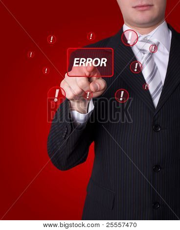 Man hand pressing ERROR button