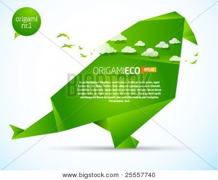 Eco friendly green origami template bird