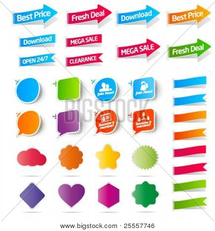 Colorful collection of sale labels, stickers and banners