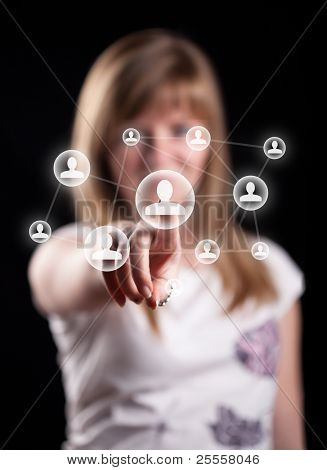 Woman hand pressing social network icon, backround in bokeh