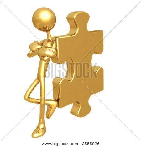 Haltung lehnen golden Puzzleteil