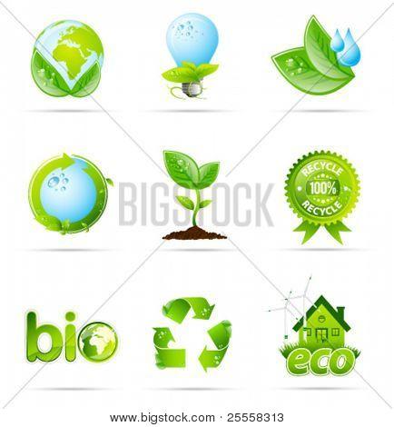 Green eco shiny icon collection