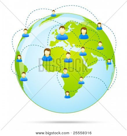 Colorful social media people communication on the globe