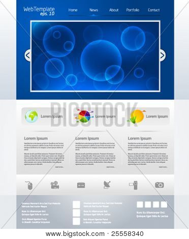 Blue business web template layout with bubble slider