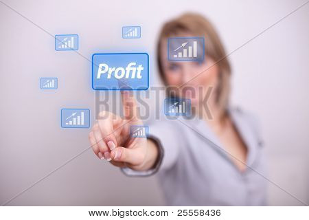 Woman pressing profit button with one hand