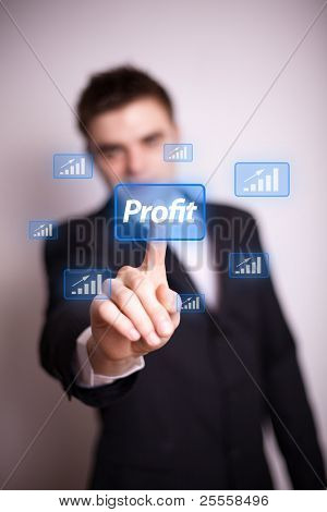Man pressing Profit icon with one hand