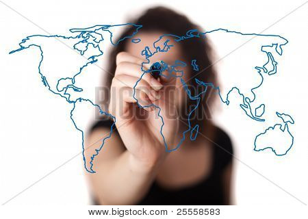 woman drawing the world map in a whiteboard (on bokeh)