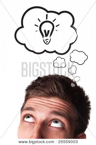 Young man with Speech Bubbles over his head, isolated on white background