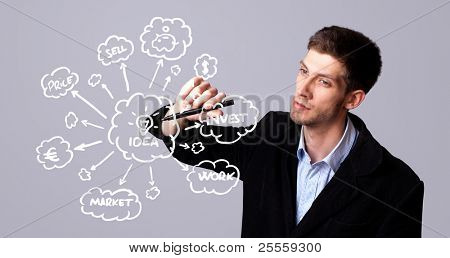 male businessman with marker writing ideas on writeboard