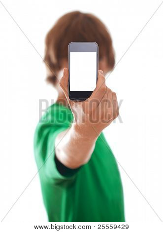 Young man holding modern phone, isolated on white [selective focus]