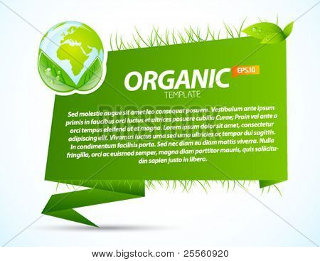 Green eco origami template with recycle sign