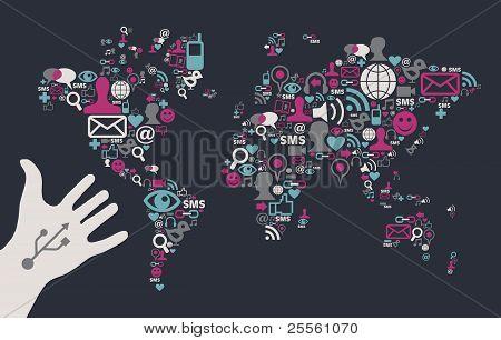 Usb Hand Reaches A Social Media World Map