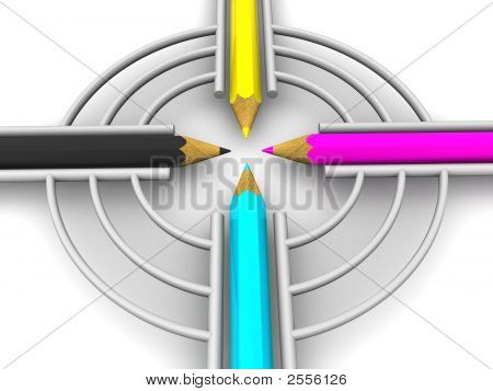 Target From Pencils. Cmyk