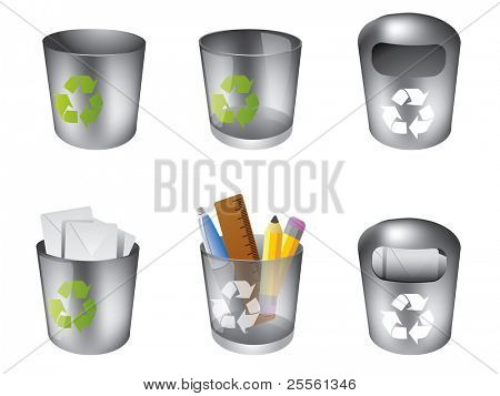Trash can icon set