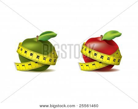 Fresh red and green apple with measuring tape isolated on white - vector