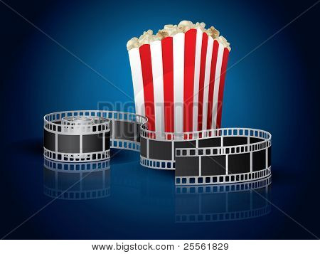 Twisted film for movie and popcorn - blue background