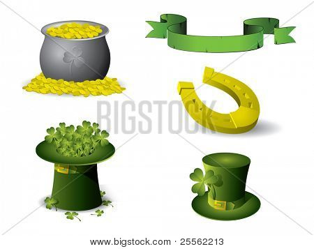 Saint Patrick's Day symbols vector set isolated on white