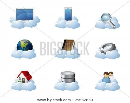 Los iconos de vector para Cloud Computing