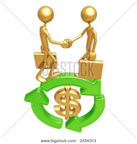 Green Business Handshake Dollar