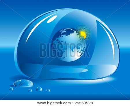 "World in a drop of water. Concept of ""take care of nature"""
