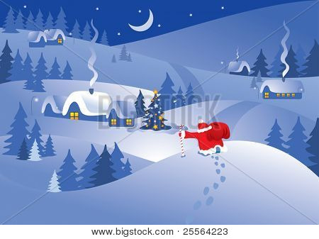 Christmas night village in the ornate frame. Santa Claus comes to visit. Vector.