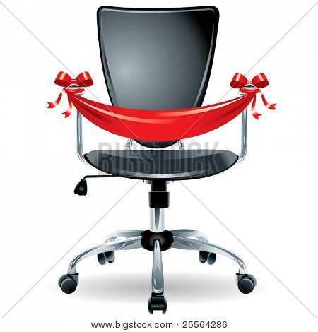 "comfortable office chair tied with silk ribbon, the concept of ""vacancies"". Vector."
