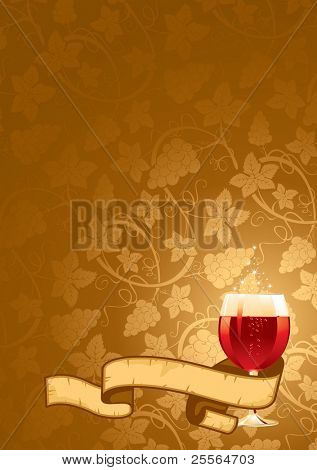 Vector wine background with the ornament of vine