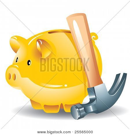 concept: the golden piggy bank and hammer, the vector