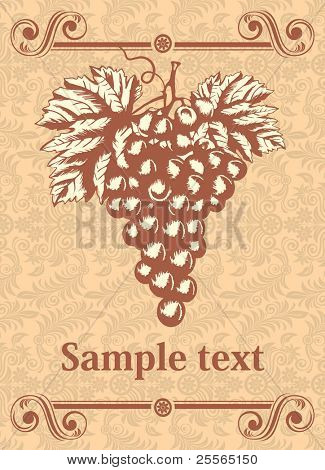 wine label with a grape in the ancient style