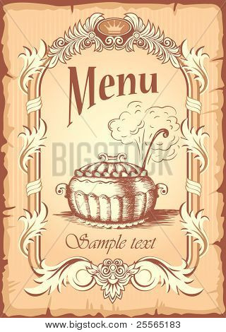 Grunge food banner in old, antique style, vector