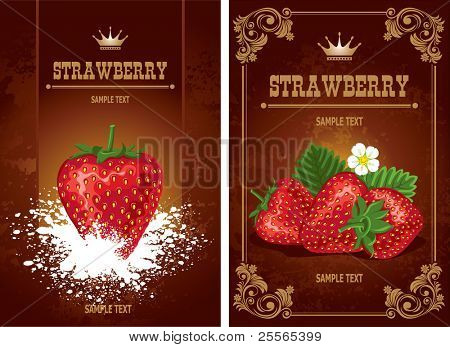 fresh strawberries on chocolate background, vector illustration
